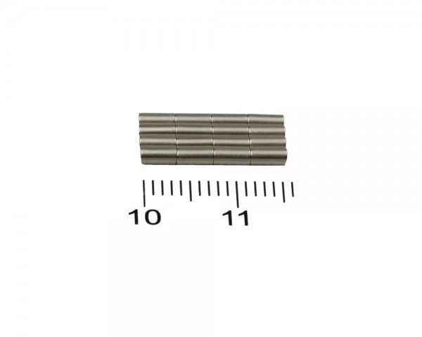 NdFeB Disc Magnets, Dimensions: Ø 2 x L (various lengths), Material grade: N38