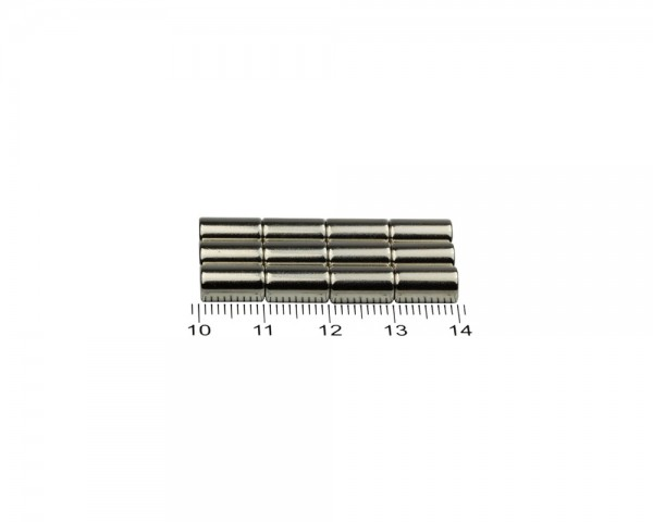 NdFeB Disc Magnets, Dimensions: Ø 6 x L (various lengths), Material grade: N38