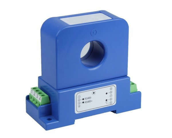 Unidirectional Digital Hall Effect DC/AC Current Sensor CYHCD-S3; Digital Output: Current I; Analogue Output: 5VDC±5VAC; Power Supply: +24V DC; Interface: RS485 MODBUS; Window: Ø 20 mm